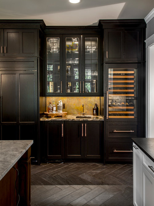 Example Of A Huge Classic Porcelain Floor Home Bar Design In Cincinnati  With Beaded Inset Cabinets