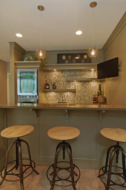 Transitional Home Bar by Great Neighborhood Homes