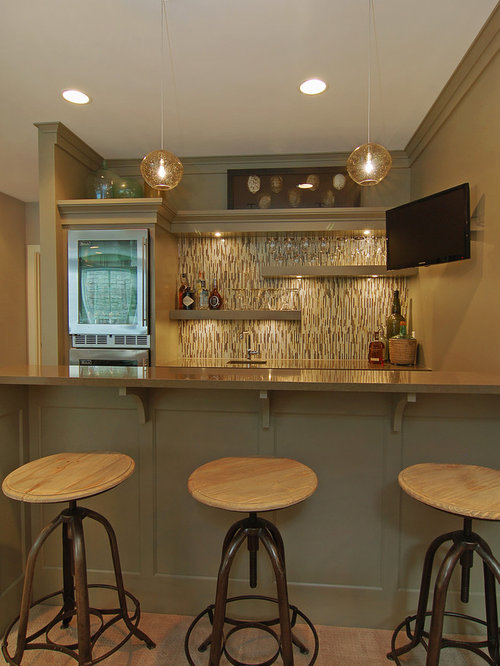 Wet Bar Backsplash Ideas Part - 30: Inspiration For A Mid-sized Transitional Galley Carpeted Seated Home Bar  Remodel In Minneapolis With