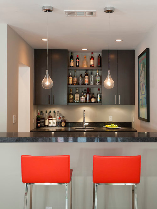 Inspiration For A Contemporary Galley Seated Home Bar Remodel In San  Francisco With Flat Panel