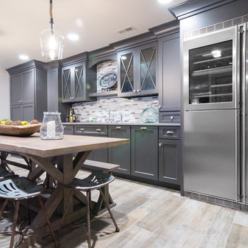 Grey Quartz Wet Bar and Dining Area in West Chester Basement