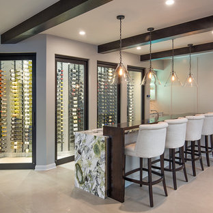 Example of a trendy l-shaped beige floor seated home bar design in Columbus with shaker cabinets and white cabinets