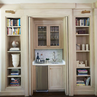 Design ideas for a small classic wet bar in Birmingham with a submerged sink, beaded cabinets, light wood cabinets, marble worktops, white splashback, stone slab splashback and dark hardwood flooring.