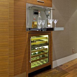 Ejemplo de bar en casa con fregadero lineal, contemporáneo, pequeño, sin pila, con armarios con paneles lisos, puertas de armario de madera clara, suelo de madera oscura y suelo marrón