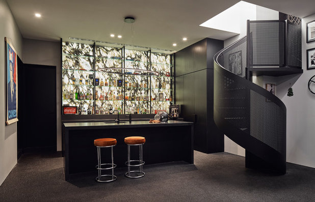 Contemporary Home Bar by STAR Architecture