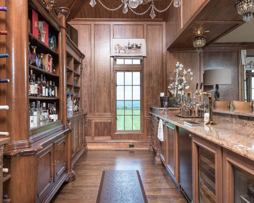 Wet Bar   Traditional Galley Medium Tone Wood Floor And Brown Floor Wet Bar  Idea In