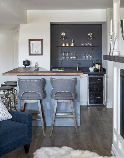 Transitional Home Bar by Christine Elliott Designs