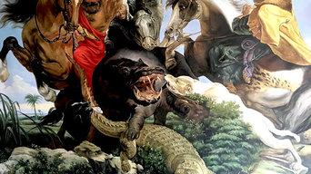 Hippopotamus and Crocodile Hunt, inspired by Rubens