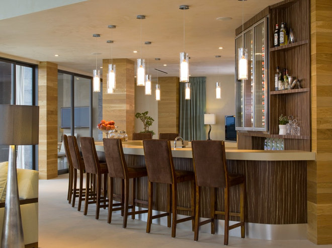 Contemporary Home Bar by SoCal Contractor