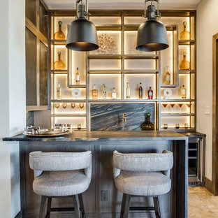 Seated home bar - contemporary u-shaped beige floor seated home bar idea in Dallas with gray backsplash, stone slab backsplash and gray countertops