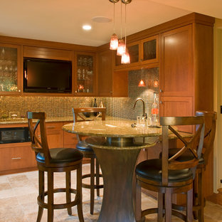 Inspiration for a mid-sized contemporary l-shaped terra-cotta floor seated home bar remodel in Minneapolis with an undermount sink, recessed-panel cabinets, medium tone wood cabinets, granite countertops, multicolored backsplash and mosaic tile backsplash