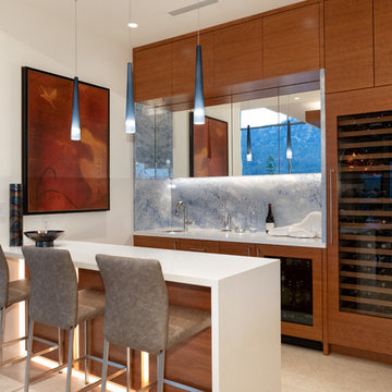 Home Bar with grain matched cherry cabinetry