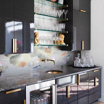 Home Bar with Koi Wallpaper Backsplash and Black High Gloss Cabinets