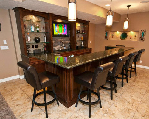 Home Bar Design Ideas Renovations Photos With Dark Wood Cabinets And Marble Benchtops