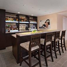 Contemporary Home Bar by Pamela Singer & Associates