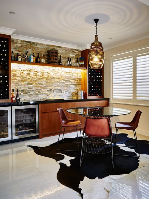 Design Ideas For A Contemporary Single Wall Home Bar In Central Coast With  Flat