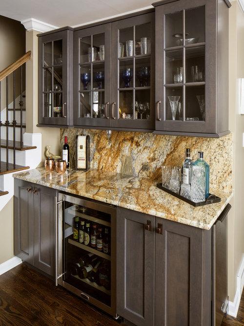 323 Wet Bar with Stone Slab Backsplash Design Ideas & Remodel Pictures ...
