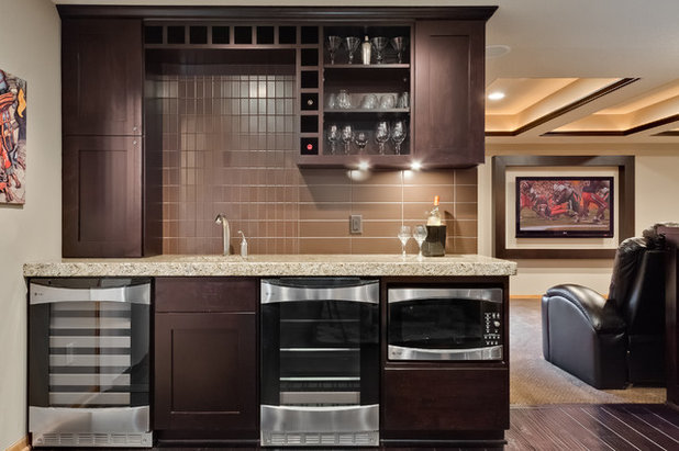 Transitional Home Bar by FBC Remodel