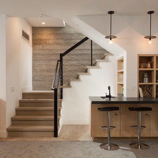 Example Of A Trendy Beige Floor Home Bar Design In Orange County With An  Undermount Sink