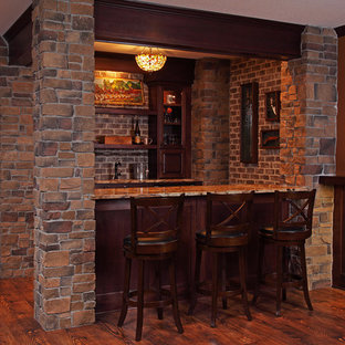 Example of a mid-sized mountain style home bar design in Minneapolis