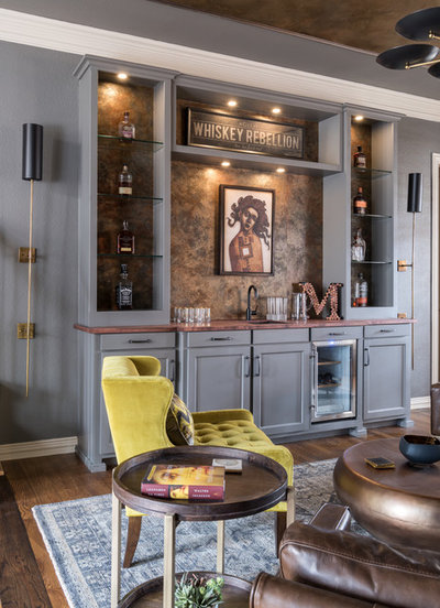 Eclectic Home Bar by Gallagher Interiors
