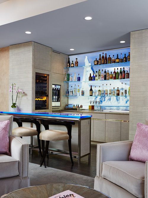 Example Of A Mid Sized Transitional L Shaped Dark Wood Floor Seated Home Bar