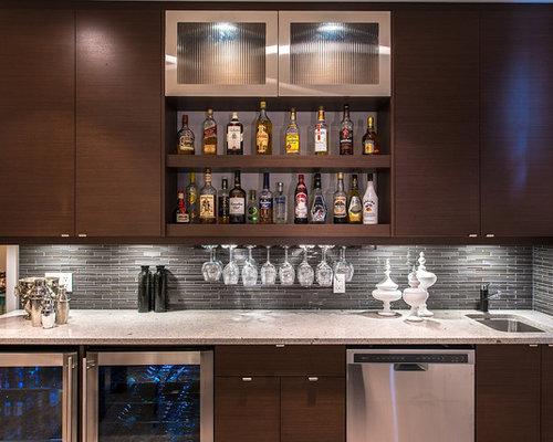 Idee e foto di angoli bar moderni - Mini bar de salon ...