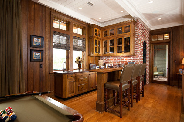 Traditional Home Bar by Island Architects