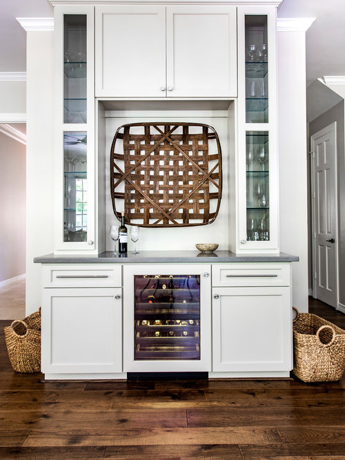 Transitional Single Wall Home Bar Idea In Houston With White Cabinets,  Glass Front