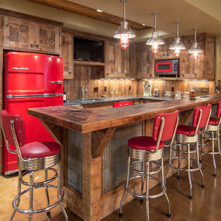 Mid-sized mountain style u-shaped home bar photo in Minneapolis with recessed-panel cabinets