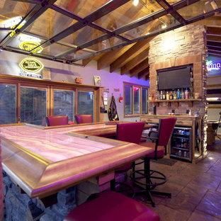 Design ideas for a coastal breakfast bar in Omaha with wood worktops.
