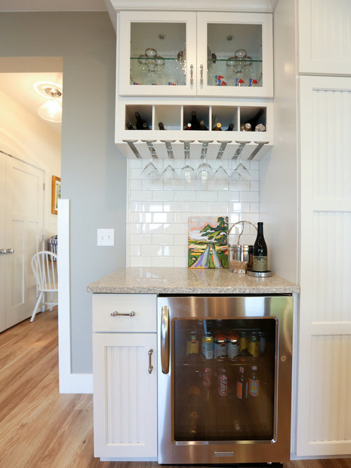 75 Home Bar with Subway Tile Backsplash and Recessed-Panel Cabinets ...