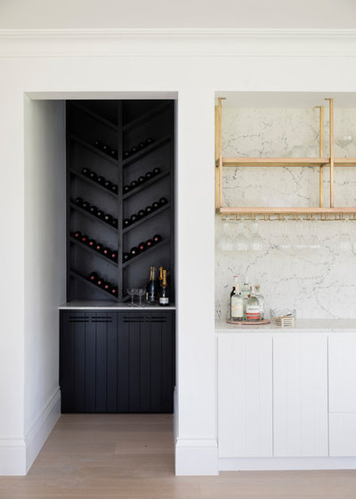 Beach Style Home Bar by Carrera By Design