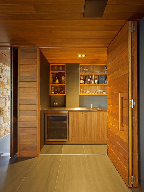 in home bar designs. Large contemporary home bar in Sydney with an undermount sink  open cabinets medium wood Home Bar Design Ideas Renovations Photos