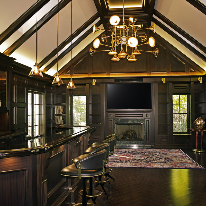Long Island House- Man cave with bar