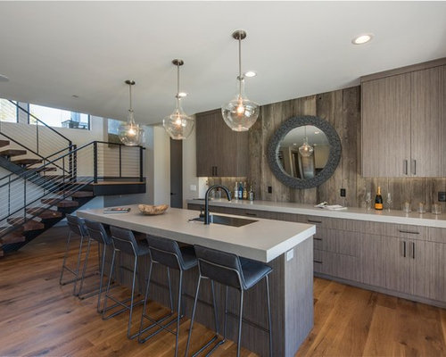 Inspiration For A Rustic Medium Tone Wood Floor Seated Home Bar Remodel In  Salt Lake City