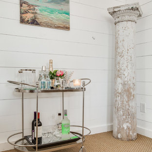 Small eclectic carpeted bar cart photo in Dallas