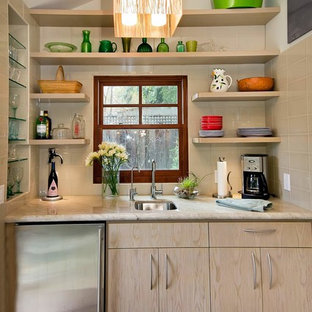 Example of a mid-sized transitional single-wall porcelain floor and beige floor wet bar design in San Francisco with an undermount sink, flat-panel cabinets, light wood cabinets, beige backsplash, subway tile backsplash, quartzite countertops and beige countertops