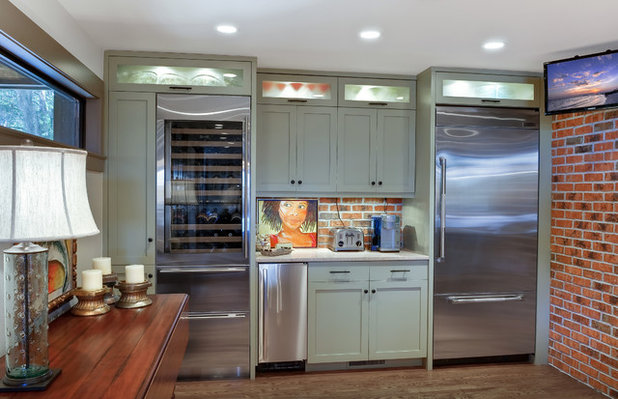Transitional Home Bar by Robert Paige Cabinetry LLC