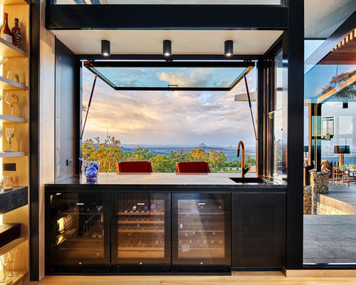 Design Ideas For A Mid Sized Contemporary Seated Home Bar In Brisbane With Open Cabinets