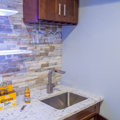Inspiration for a large contemporary galley porcelain tile wet bar remodel in New York with an undermount sink, shaker cabinets, dark wood cabinets, granite countertops, multicolored backsplash and stone tile backsplash