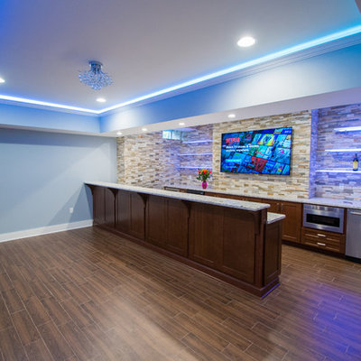 Wet bar - large contemporary galley porcelain tile wet bar idea in New York with an undermount sink, shaker cabinets, dark wood cabinets, granite countertops, multicolored backsplash and stone tile backsplash