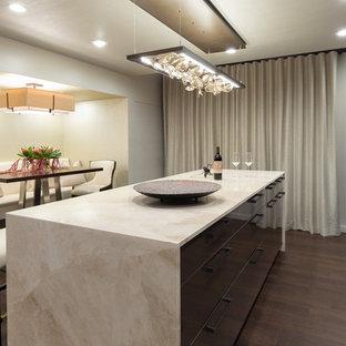 Idee per un grande bancone bar design con nessun lavello, ante lisce, ante in legno bruno, parquet scuro, pavimento marrone, top multicolore e top in marmo