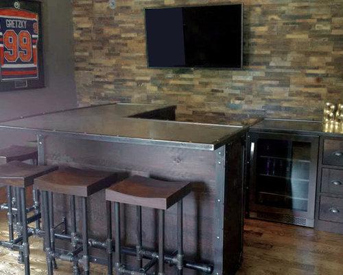 Industrial l shaped home bar design ideas renovations photos Home bar furniture portland oregon