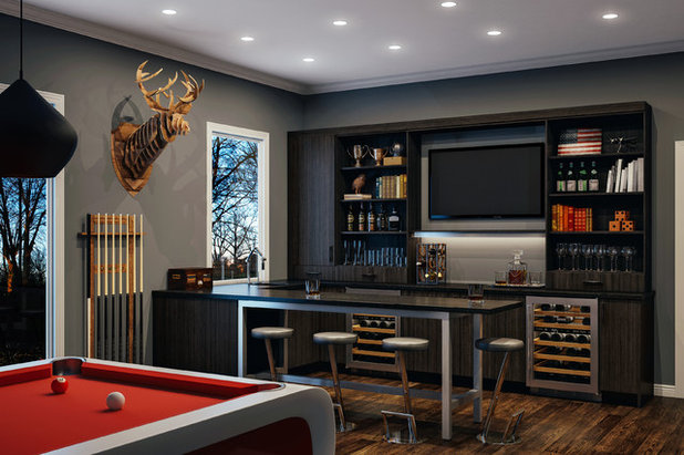 Contemporary Home Bar by Canyon Creek Cabinet Company