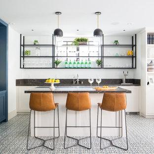 Idee per un angolo bar con lavandino minimalista con ante in stile shaker, ante bianche e pavimento multicolore