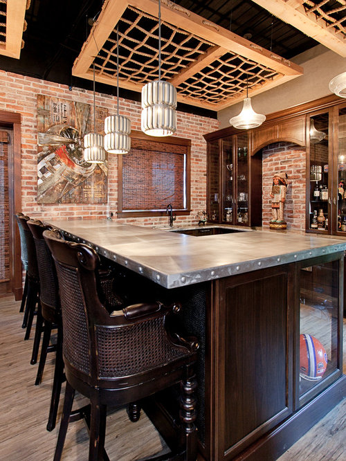 Industrial Home Bar Design Ideas Renovations Amp Photos With Vinyl Flooring