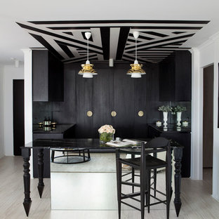 Inspiration For A Mid Sized Contemporary Light Wood Floor And Beige Home Bar Remodel