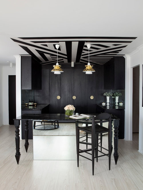 Modern Classic Home Design. Inspiration for a mid sized contemporary light wood floor and beige  home bar remodel Modern Classic Interior Design Houzz