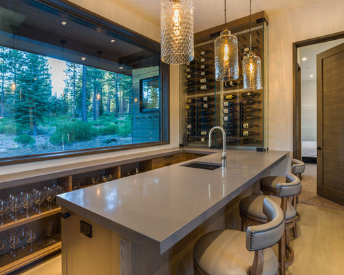 Inspiration For A Mid Sized Contemporary Galley Light Wood Floor And Brown  Floor Wet Bar